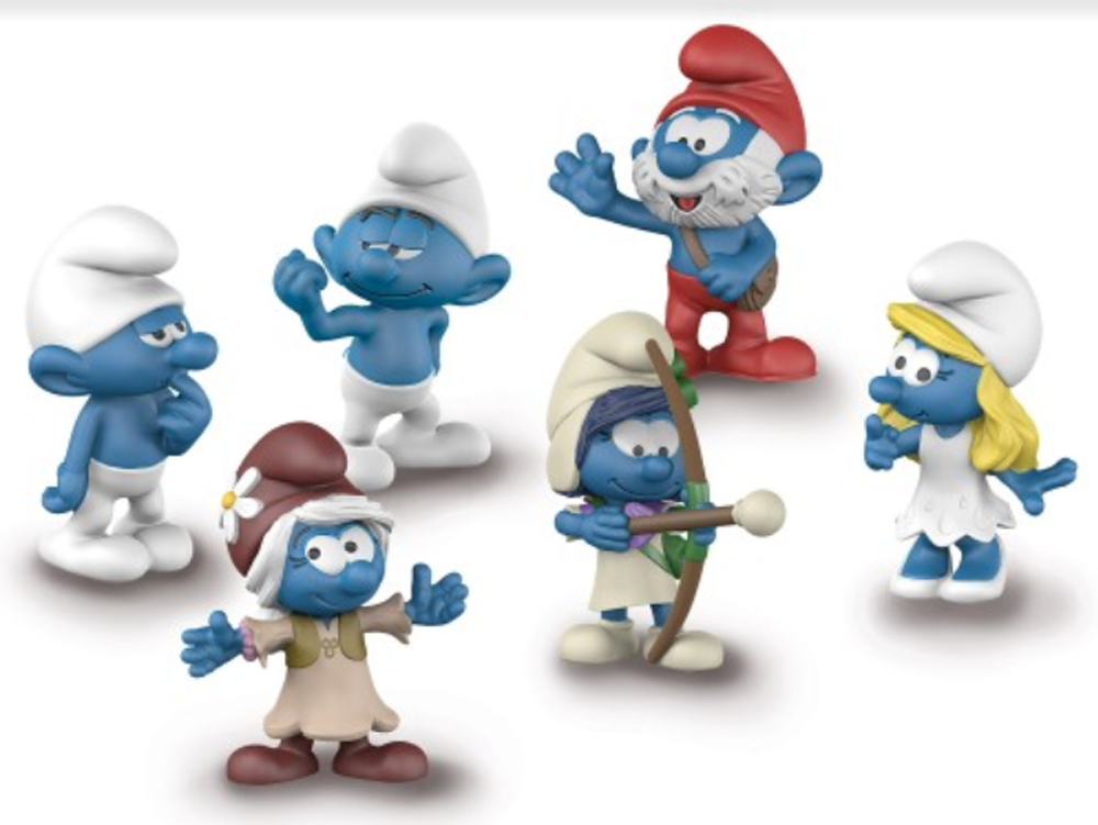 2017 Smurf Movie Set of 6 Figurines - Hefty Clumsy Smurfette Sigrid Smurfika Papa Smurfniss 20802