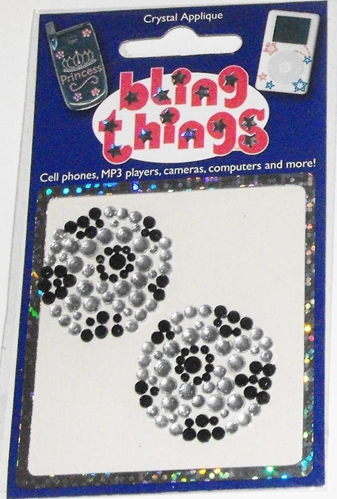 2 Soccer Balls Crystal Appliqué Cell Phone BLING THING iPhone Sticker iPod Decal