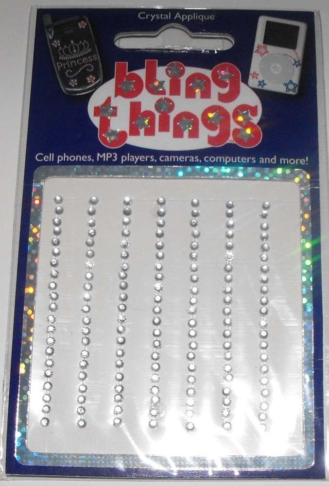 Full White Stripes Strips of Crystals Cell Phone BLING THING iPhone Sticker iPod