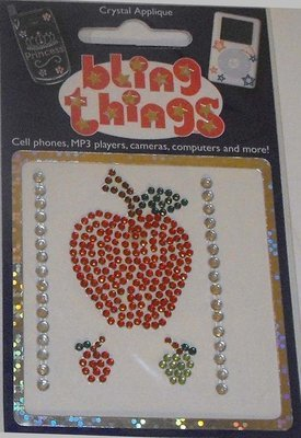 Red Apple Crystal Appliqué Cell Phone BLING THING iPhone Sticker Fruit Decal