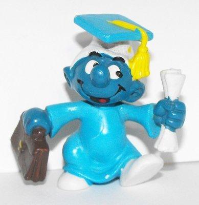 Graduation (blue) Smurf 2 inch Plastic Figurine 20130
