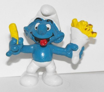 French Fries Smurf 2 inch Plastic Figurine 20131
