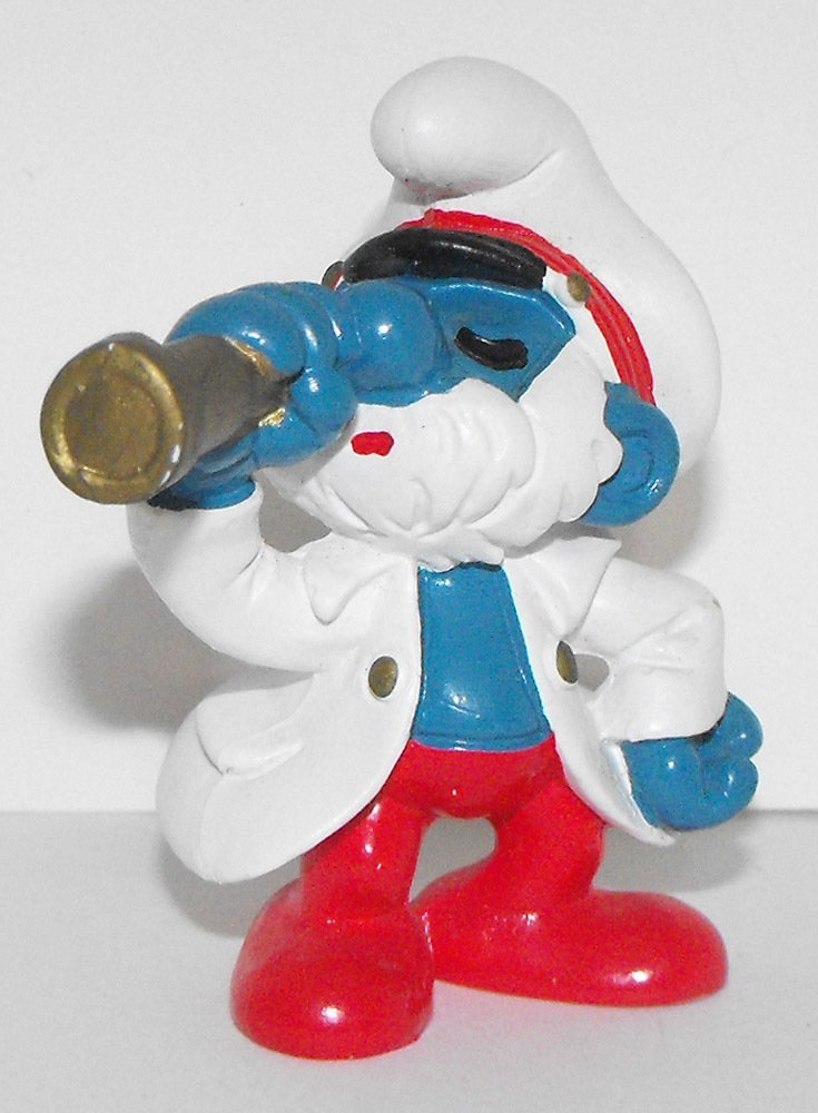 Captain Papa Smurf 2 inch Plastic Figurine Sea Captain 20141