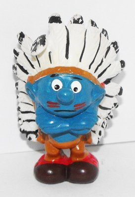 Indian Smurf 2 inch Plastic Figurine Native American 20144