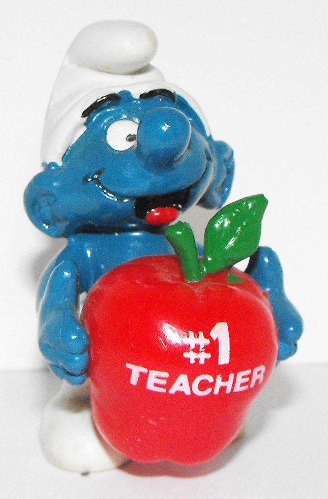 Red Apple #1 Teacher Smurf 2 inch Plastic Figurine 20160