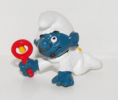 Baby Smurf​ with Rattle (white) 2 inch Plastic Figurine 20179