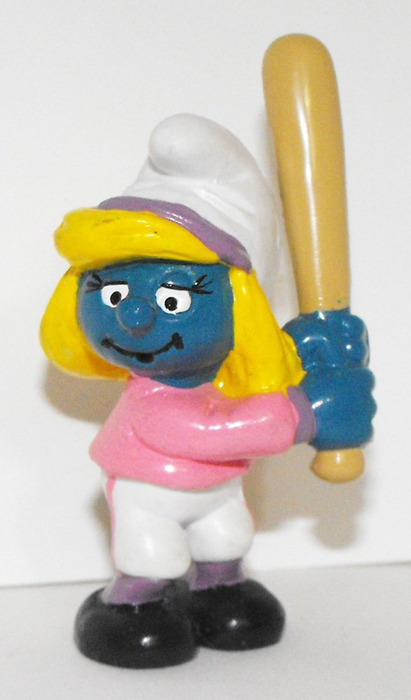 Baseball Smurfette 2 inch Plastic Figurine 20186