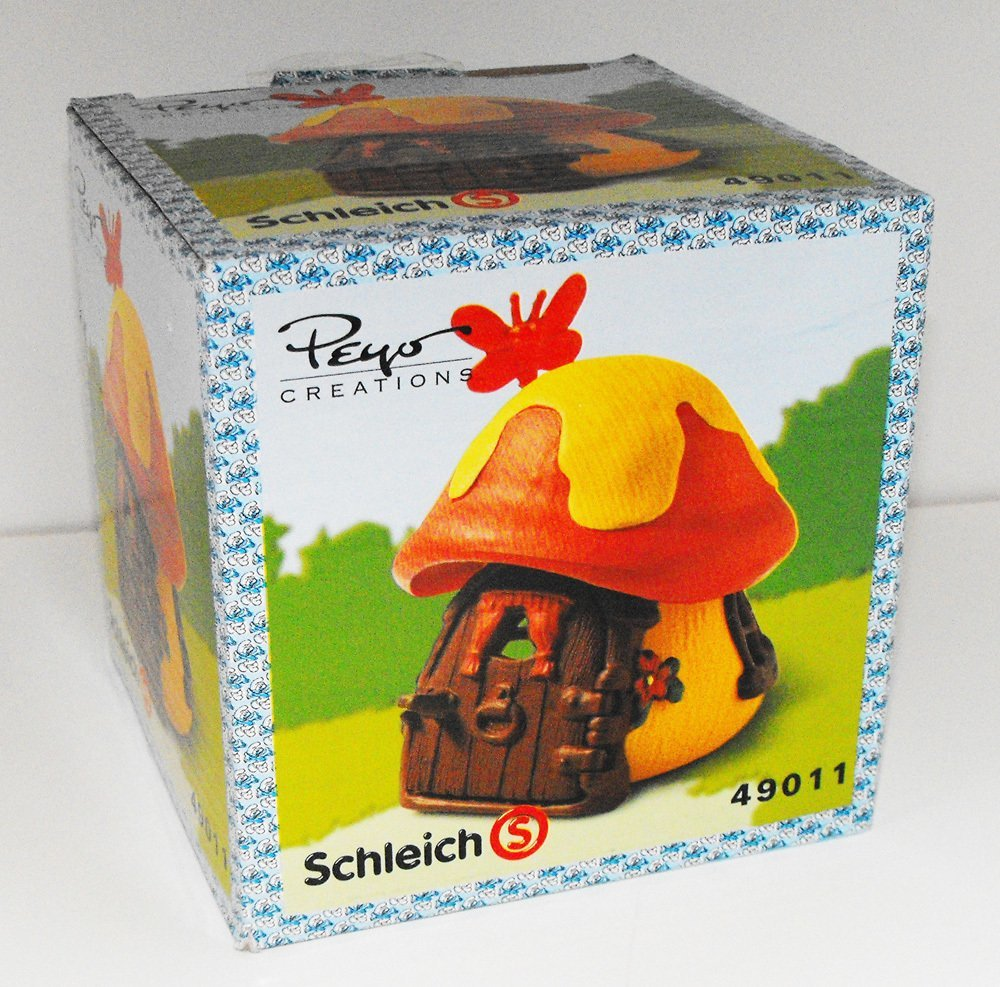 Red and Orange Mushroom Cottage with Butterfly Small Smurf House