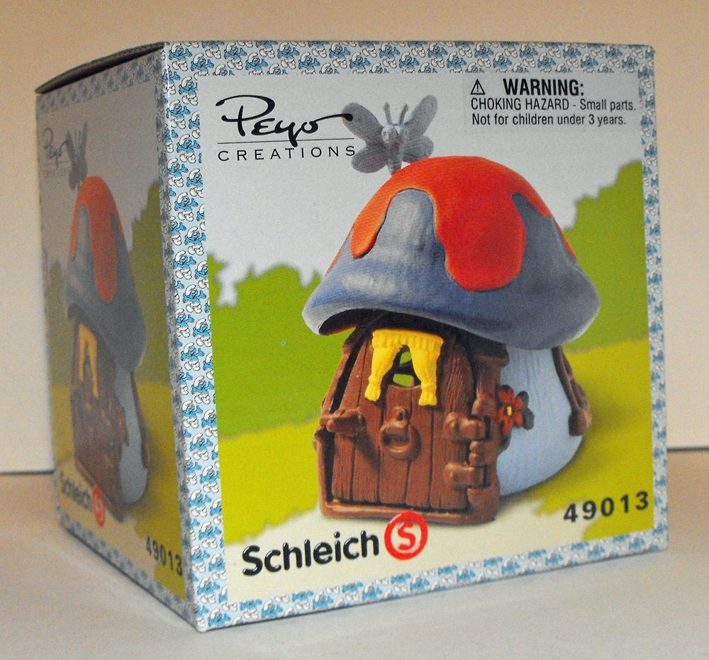 Blue and Red Mushroom Cottage with Butterfly Small Smurf House