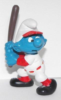 Baseball Batter Smurf 2 inch Plastic Figurine 20129