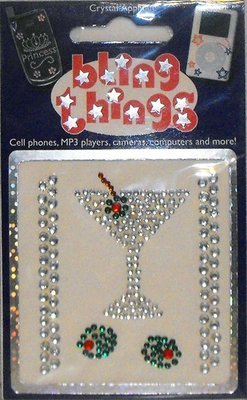 Dirty Martini Crystal Appliqué Cell Phone BLING THING iPhone Sticker iPod Decal