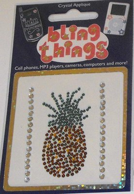 Pineapple Crystal Applique Cell Phone BLING THING iPhone Sticker Fruit Decal