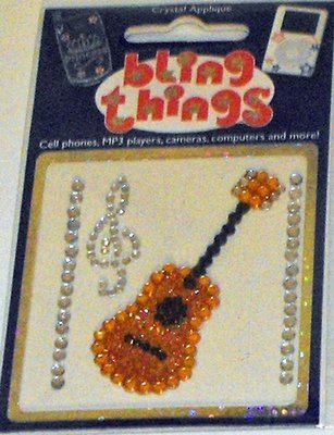 Guitar and Music Notes Crystal Cell Phone BLING THING iPhone Sticker Decal