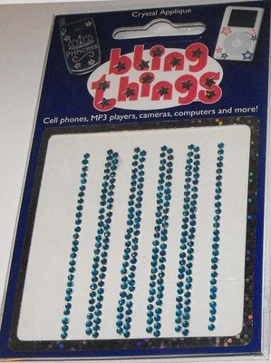 Small Full Blue Stripes Crystal Cell Phone BLING THING iPhone Sticker iPod Decal