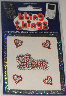 Love with Hearts Crystal Applique Cell Phone BLING THING iPhone Sticker Decal