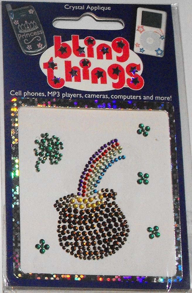 Lucky Pot of Gold Rainbow Cell Phone BLING THING 4 Leaf Clover Sticker Decal