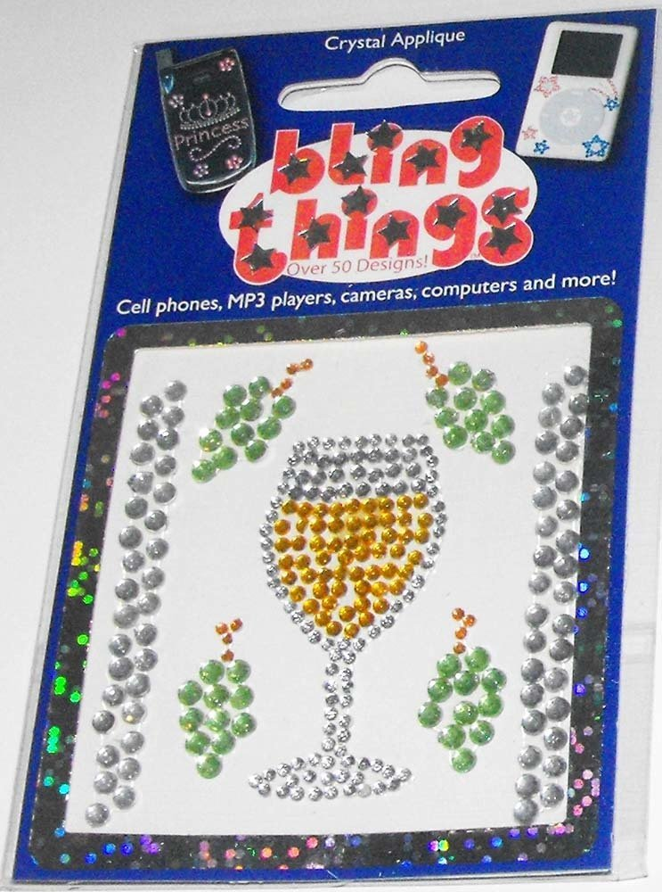 Chardonay with Grapes Cell Phone BLING THING Sticker White Wine Decal