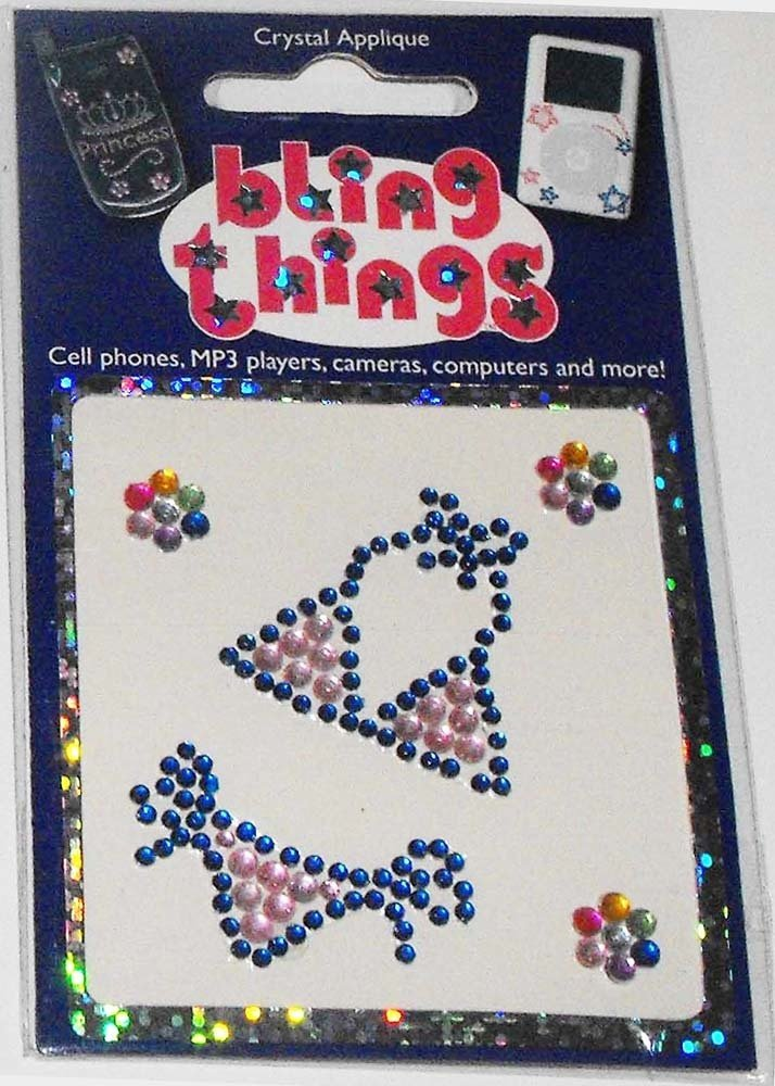 Pink Blue Bikini Swimsuit Flowers Crystal Cell Phone BLING THING Sticker Decal