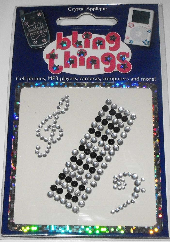 Keyboard Music Notes Crystal Cell Phone BLING THING Sticker iPod Decal Appliqué