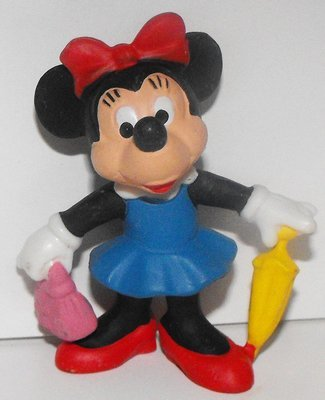 Minnie Mouse with Umbrella and Purse in Blue Dress 2 inch Plastic Figure