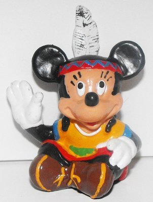 Native American Indian Minnie Mouse Sitting 2 inch Plastic Figure