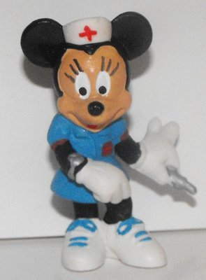 Nurse Minnie Mouse Holding Needle 2 inch Plastic Figure