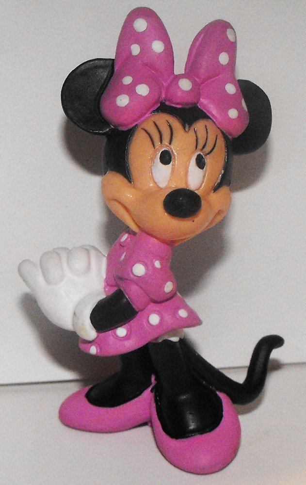 Minnie Mouse in Pink Polka Dot Dress 2 1/2 inch Plastic Figurine