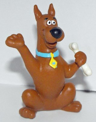 Scooby Doo with Bone Figurine 3 inch Plastic Miniature Figure Hanna Barbara