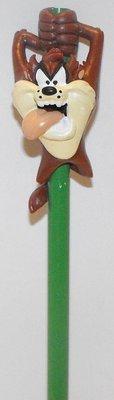 Taz Figurine on Pencil Looney Tunes Plastic Miniature Figure Tasmanian Devil