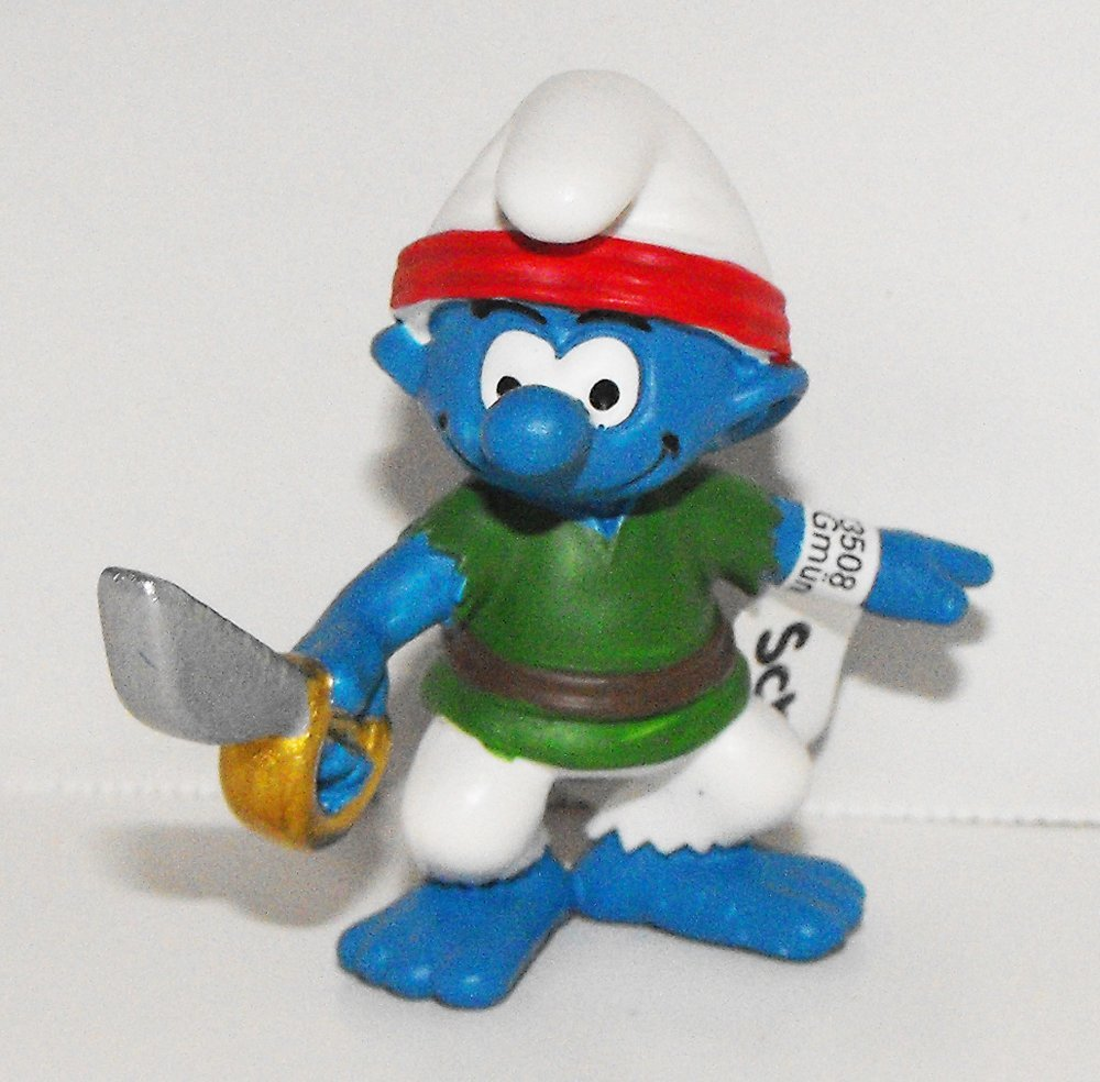 20762 Smurf Pirate Figurine with Sword 2014 Pirate Set Plastic Miniature Figure