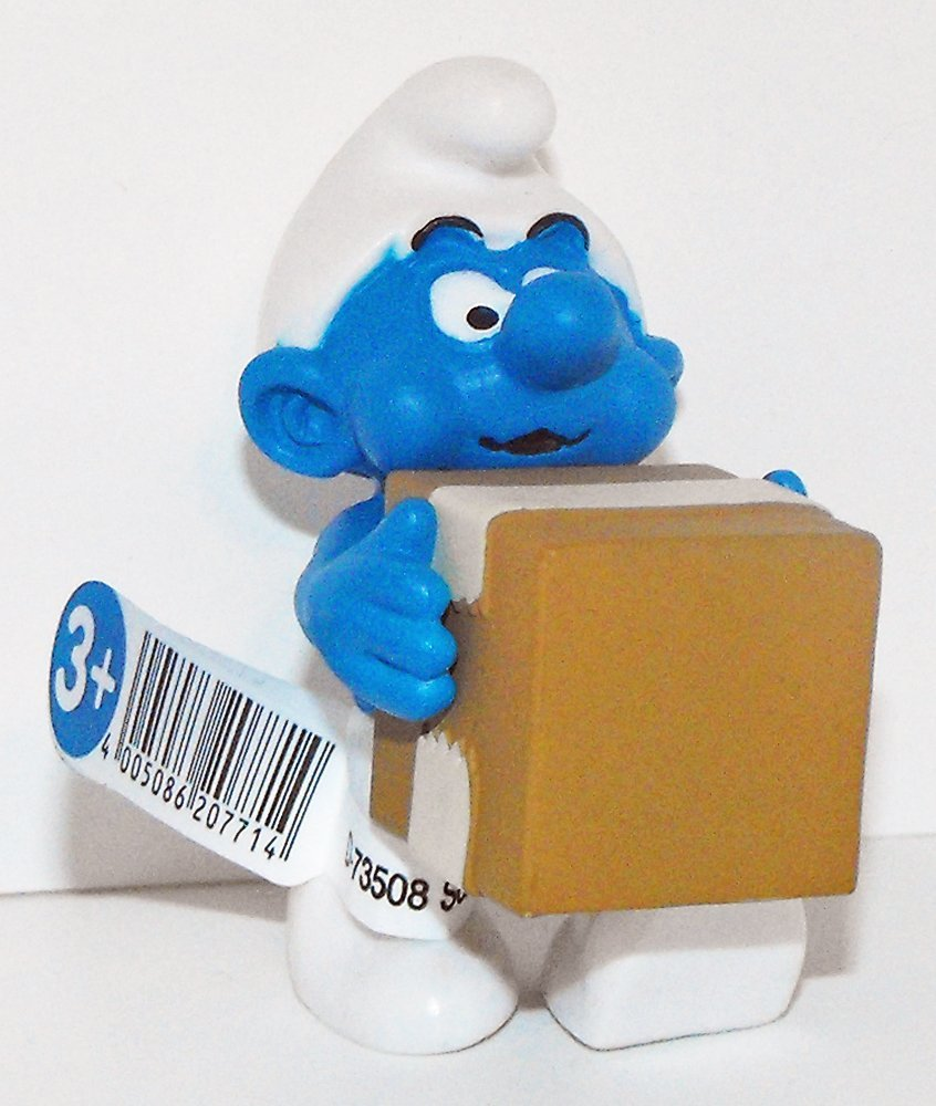 20771 Logistics Smurf Figurine from 2015 Office Set Plastic Figure UPS Delivery Man