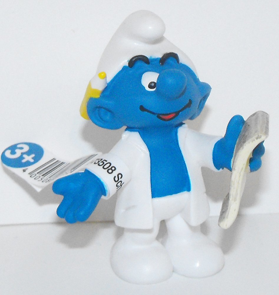 20775 Researcher Smurf Figurine from 2015 Office Set Plastic Miniature Figure