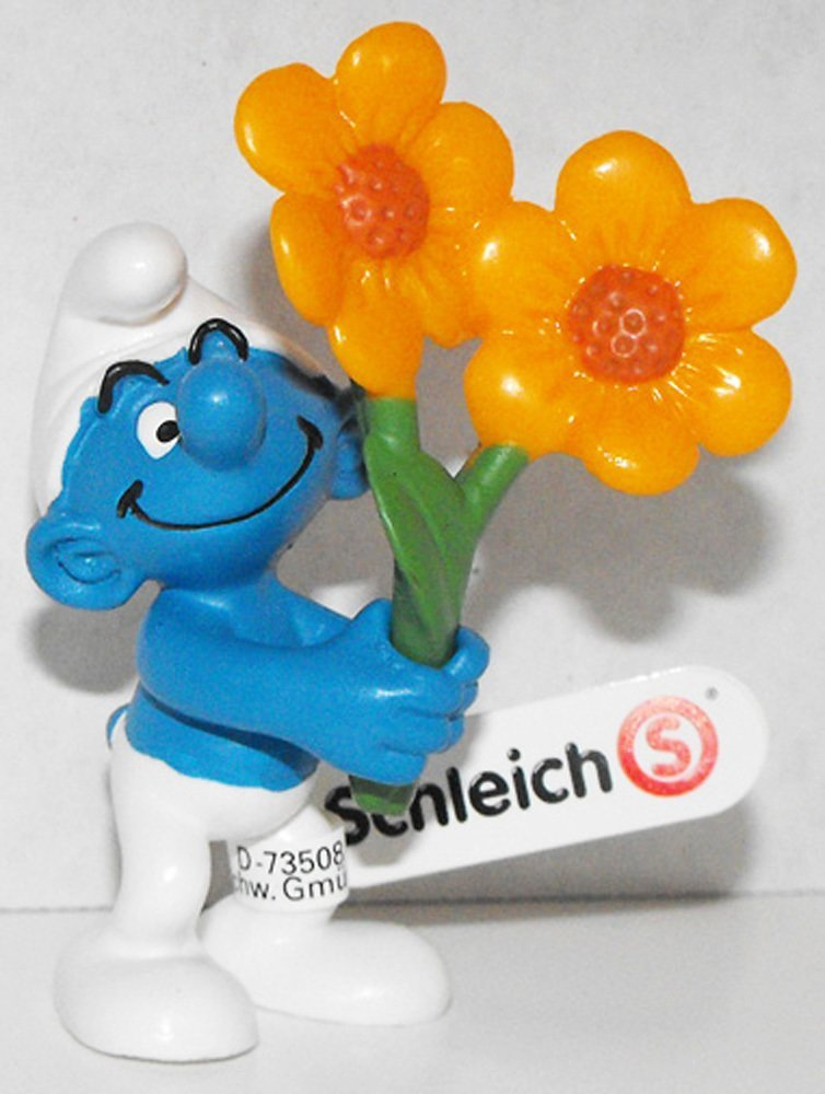 20748 Thank You Smurf with Flowers 2013 Smurfy Greetings Plastic Figurine Figure