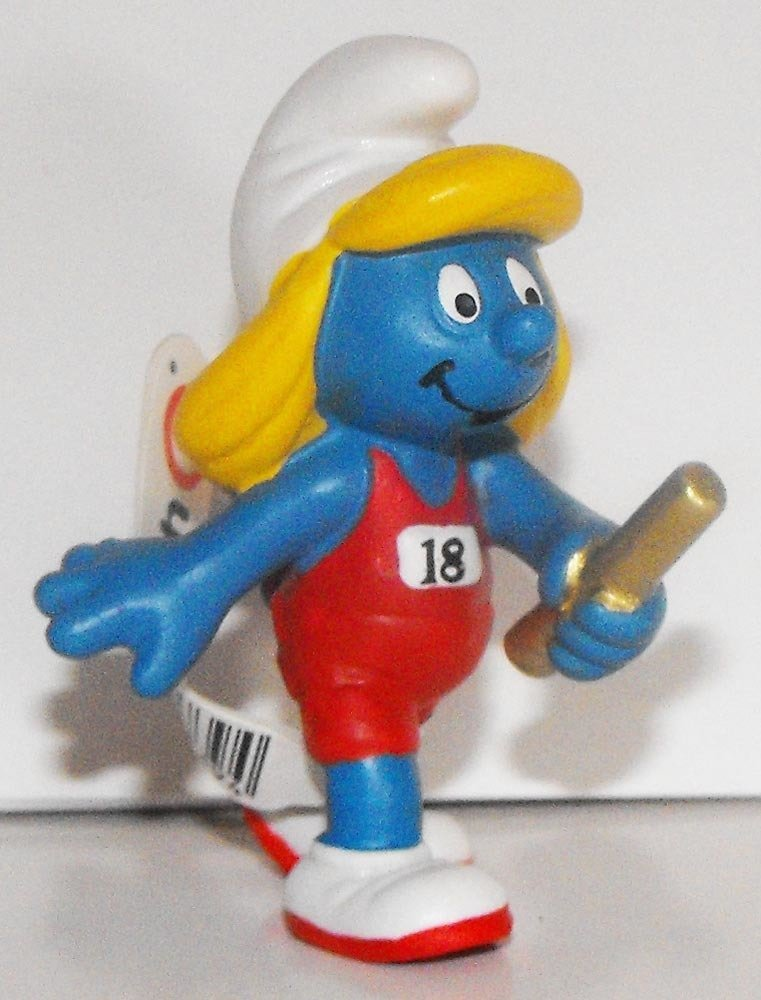 20739 Relay Runner Smurfette 2012 Olympic Sports Figure Running Smurf Figurine