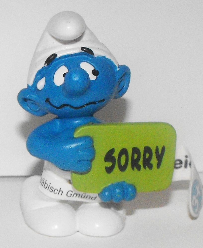 20749 Sorry Smurf 2013 Smurfy Greetings 2 inch Plastic Figurine Made by Schleich