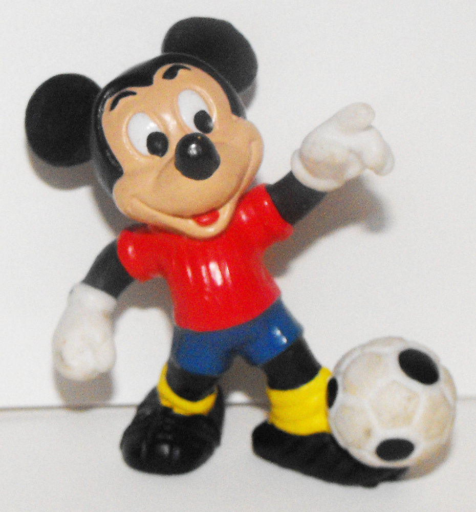 Mickey Mouse (red shirt) Kicking Soccer Ball 2 inch Plastic Figure
