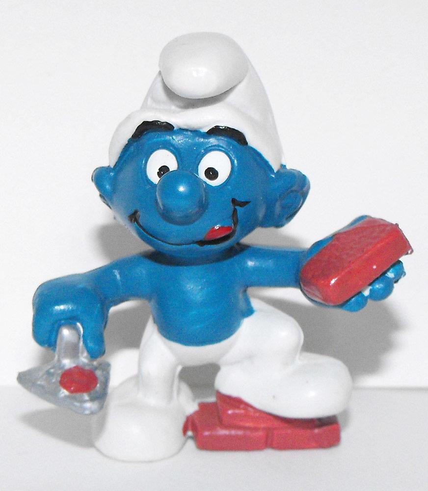 Brick Layer Smurf 2 inch Plastic Figurine 20148 Vintage Plastic Figure