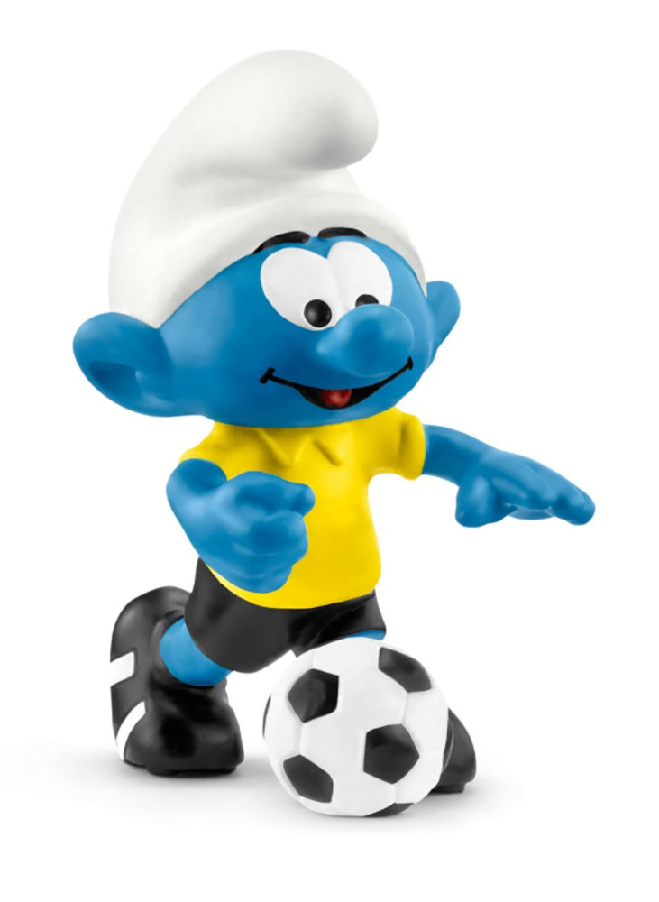 NEW Soccer Smurf with Ball 20806 Plastic Figurine 2018 Smurf Football Set