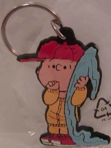 Linus with Blanket Peanuts Flat Plastic Key Chain Snoopy Keychain