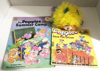 Lot of Vintage Popples, Small Yellow Popple Plush, 2 Books