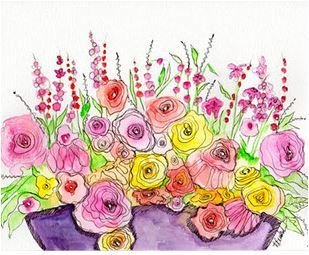 """02-27-18"""" Watercolor Wednesday $20.00 SALE """"Basket In The Flowers"""""""