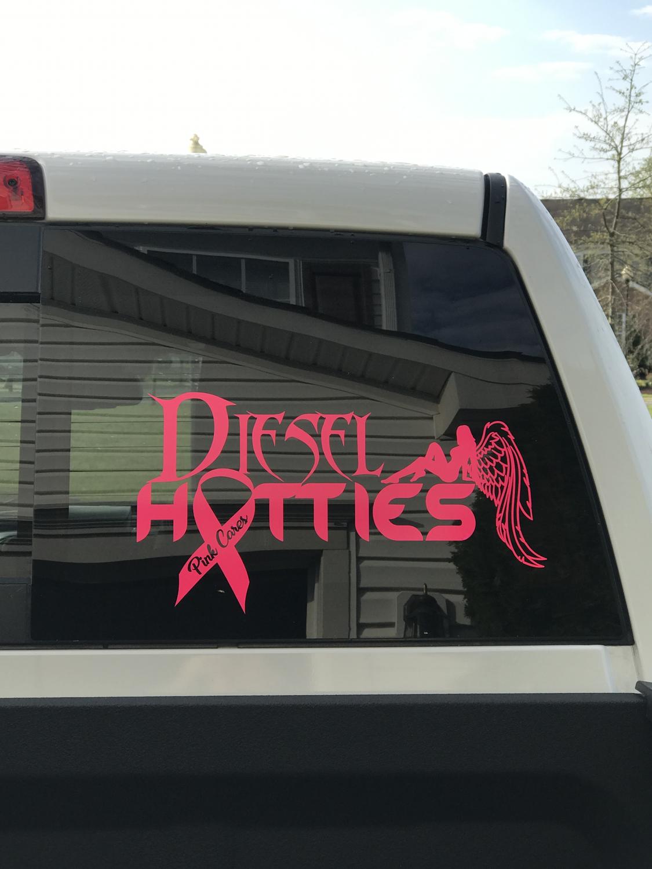 "Decal Diesel Hotties Pink Cares Large 12"" by 7"""