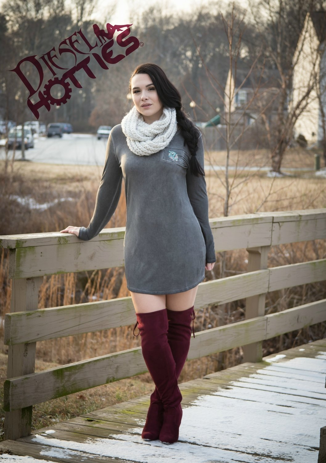 Grey Long Sleeve Mini Dress