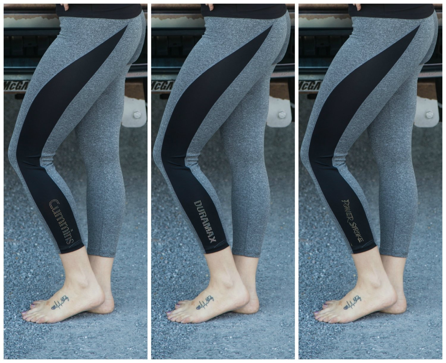 Grey & Black Capri Leggings