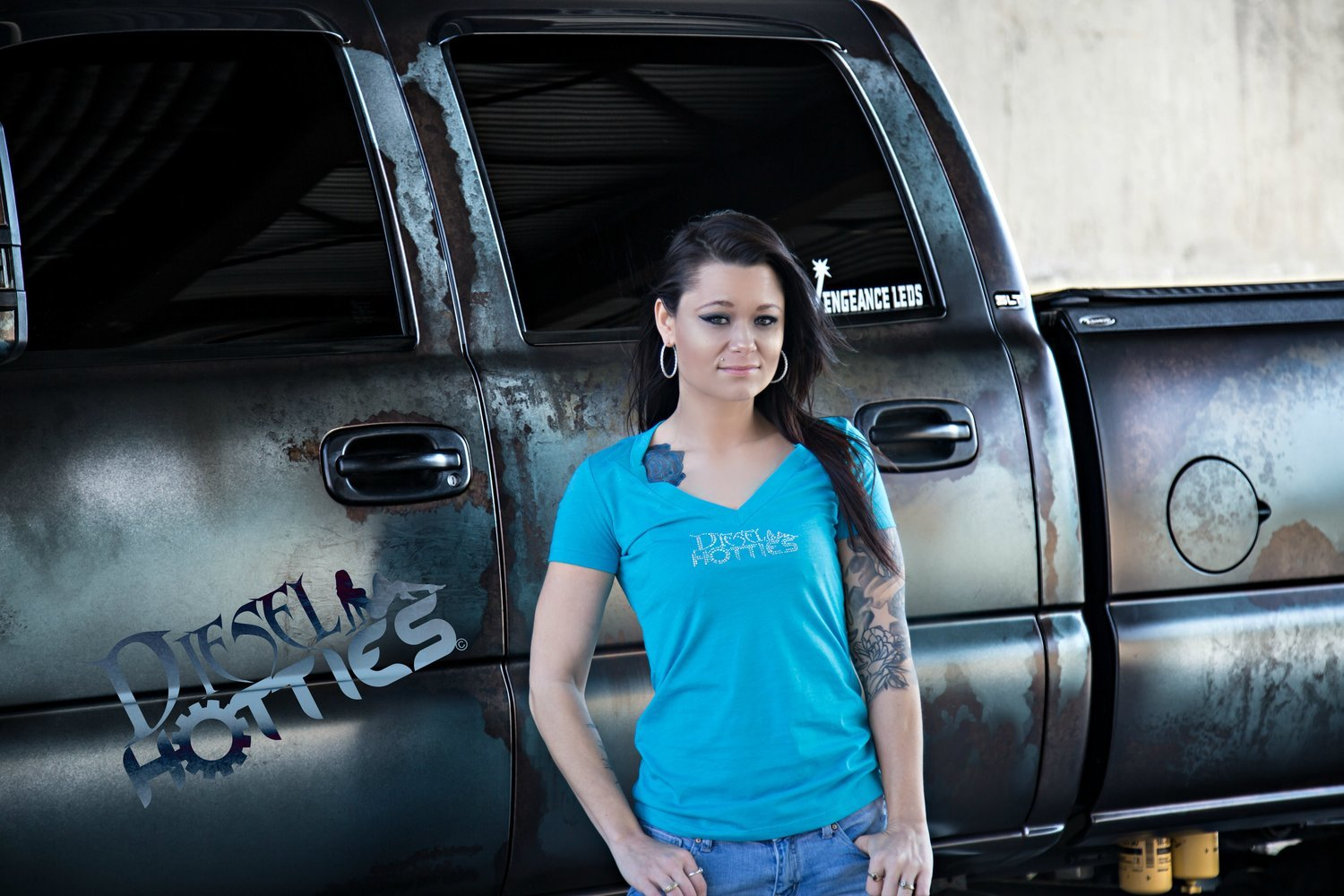 DH Deep V Diesel Hotties Tee Blue