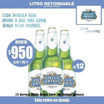 Promo Water Org - Stella Artois Litro