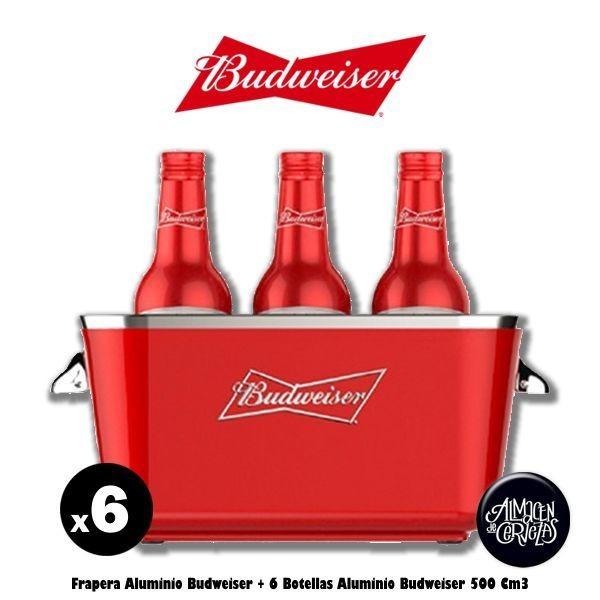 Frapera Aluminio Budweiser + 6 Bot Aluminio