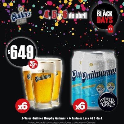 BLACK DAYS - 6 Quilmes Lata + 6 Vasos