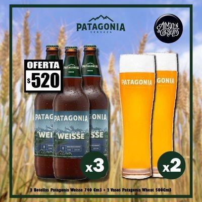 Promo 3 Patagonia Weisse + 2 Vasos Wheat 500Cm3