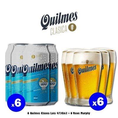 6 Quilmes Lata + 6 Vasos